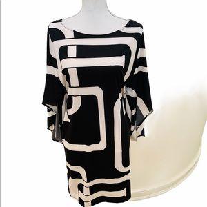 NWT Inc geometric print kimono sleeve jersey dress